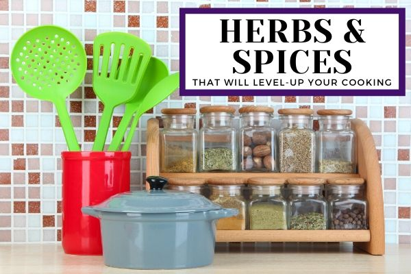 Spice rack containing herbs and spice jars