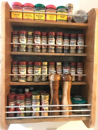 Spice rack filled with spices