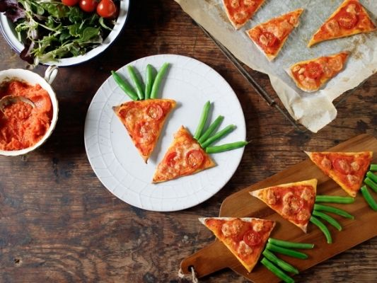 Carrot pizza with hidden carrots