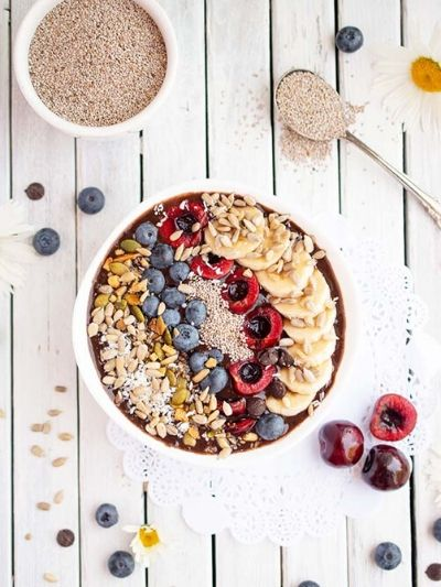 Beautiful delicious chocolate cherry smoothie bowl