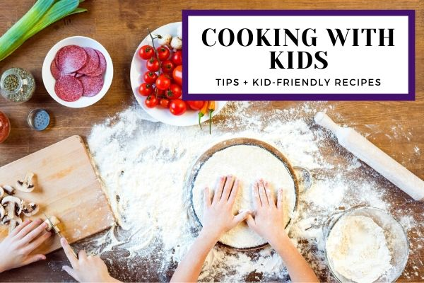 Hands of kids cooking a kid-friendly recipe in the kitchen