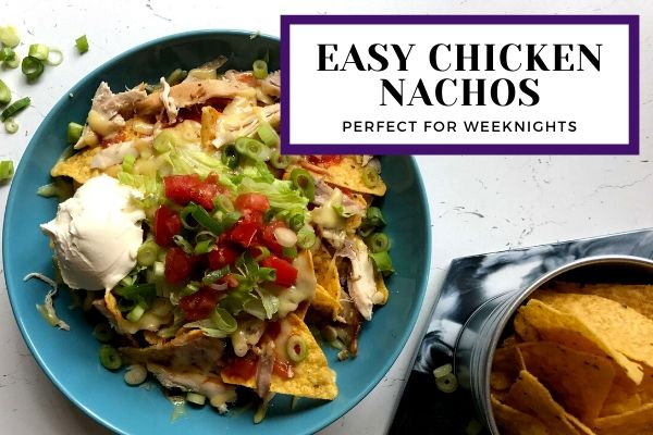 Big bowl of delicious chicken nachos
