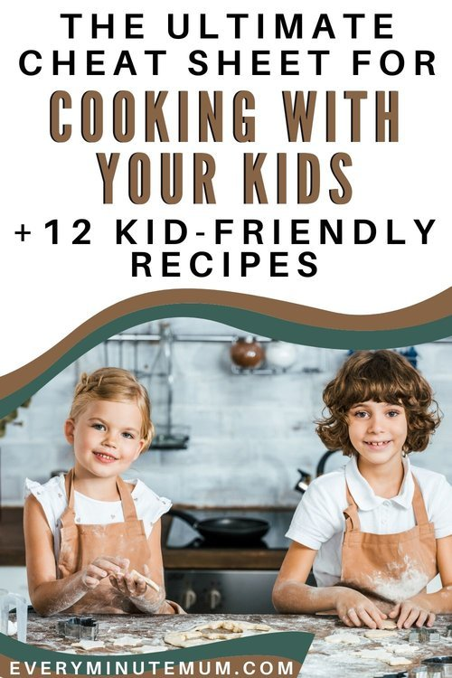 Two young kids cooking in the kitchen