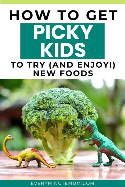 Dinosaurs eating broccoli, encouraging picky eaters to try new foods