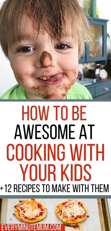 Cooking with chocolate-faced toddler