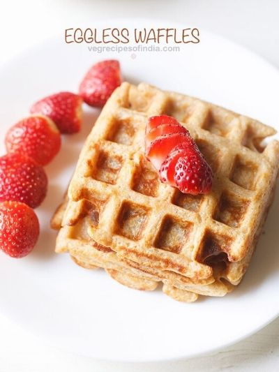 Whole wheat waffles topped with berries