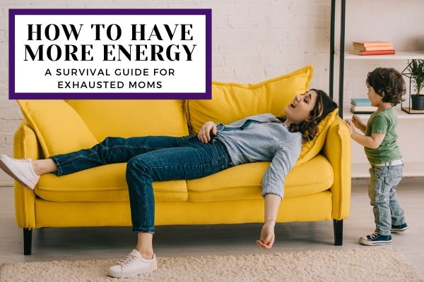 Exhausted mom lying on the couch wondering how to have more energy