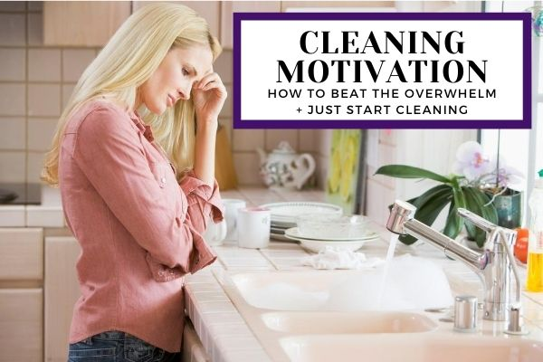 Depressed woman struggling to clean