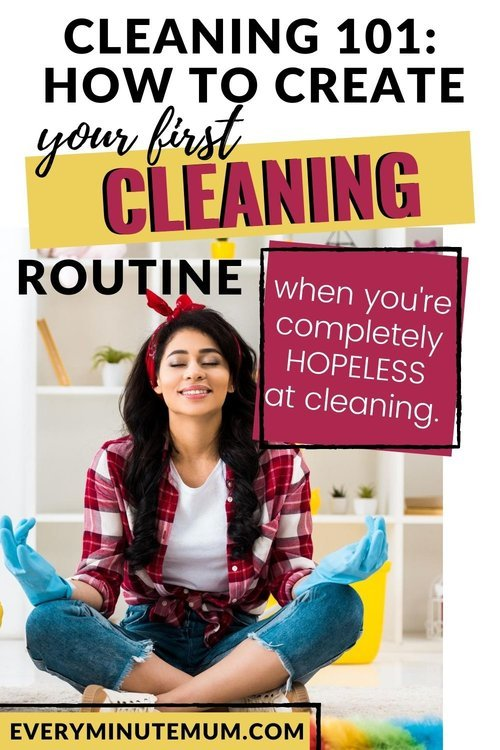 Woman meditating before beginning her cleaning routine